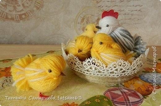 Цыплята из пряжи - мастер класс в картинках