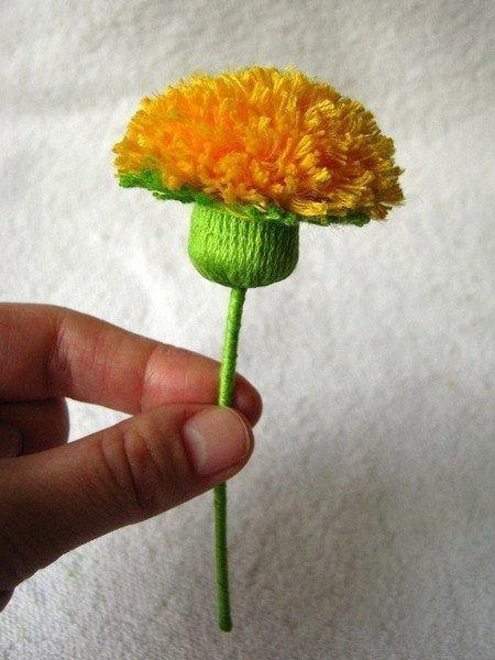 Цветки из пряжи