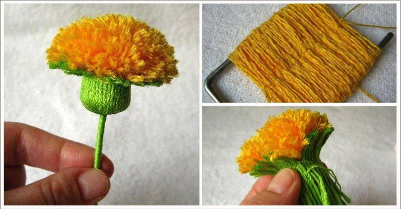 Цветочек из ниток своими руками