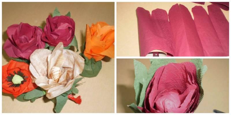 Как сделать цветок из салфеток быстро и легко 519