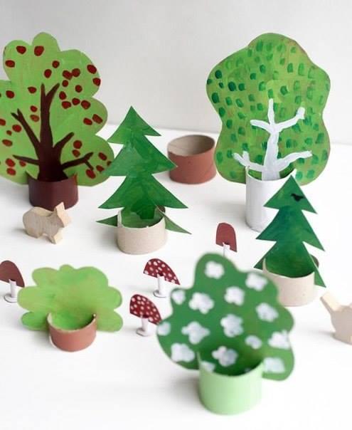Дерево из бумаги своими руками для детей из руки 522