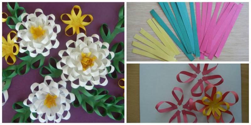 Как сделать цветок из бумажной ленты своими руками