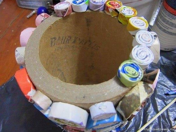 Господар вазна од картон и хартија цевки спирали 5