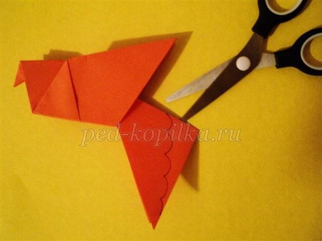 Складываем яркого попугая в технике оригами